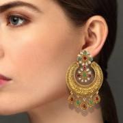 Asmitta Brilliant Chandbali Shape Gold Plated Dangle Earring For Women