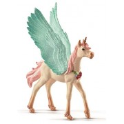 Schleich Decorated Unicorn Pegasus/Foal Figurine Toy, Multicolor