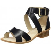 Clarks Women's Sandcastle Ray Black Leather Fashion Sandals - 5 UK/India (38 EU)