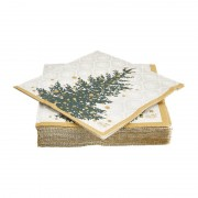 Duni servetten - trees in gold - 12x12 cm
