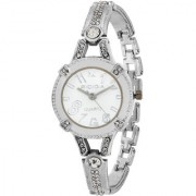 RIDIQA Analog Crystal Studded WHITE Dial Stainless Steel Wrist Watch ForGirls Women-RD-077