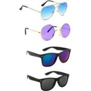 Elligator Aviator, Round, Wayfarer Sunglasses(Blue, Violet, Black)