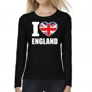 Bellatio Decorations I love England long sleeve t-shirt zwart voor dames