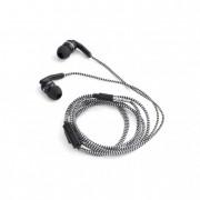 Fülhallgató, fekete-fehér, textil borítású