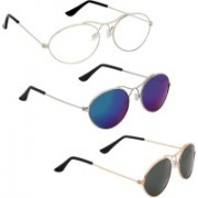 Phenomenal Oval Sunglasses(Green, Clear, Blue)