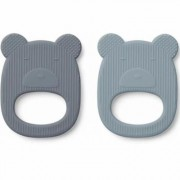 Liewood - Geo Teether Mr Bear Blue Mix 2 Pack