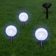 vidaXL 3 db LED kerti gömblámpa cövekkel és napelemmel
