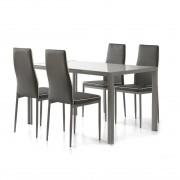 Cribel Contemporaneo Set Tavolo + 4 sedie POSEIDON, grigio