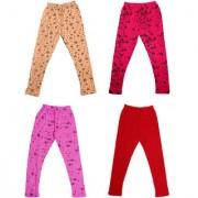 IndiWeaves Girls Super Soft and Stylish Cotton Printed Churidar Legging(Pack of 4)