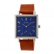 Simplify The 5000 Leather-Band Watch - Silver/Blue/Brown SIM5004
