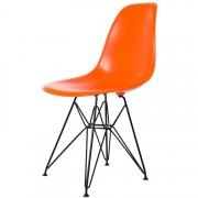 Charles Eames eetkamerstoel DD DSR Zwart frame ABS oranje