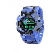 Popmode Light-Powered Sports Digital Blue Army Men's Wrist Watch Thick Strap