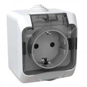 Cedar Plus IP44 vízmentes földelt csatlakozóaljzat (dugalj) gyermekvédelemmel, csapófedéllel, 2P+F, fehér színben, komplett szerelvény, falon kívül, vízmentes (IP44) 16A 250V (Schneider Electric WDE000544)