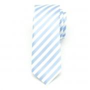 pentru bărbați îngust cravată (model 1163) 6057 în albe culoare cu albastru benzi