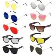 Elgator Aviator, Wayfarer, Sports, Round Sunglasses(Blue, Pink, Yellow, Silver, Brown, Black, Silver, Red)