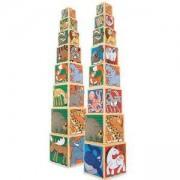 Дървени кубчета за нареждане с животинки - 14207 - Melissa and Doug, 000772142076