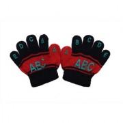 kids winter woolen black alphabetic pattern gloves