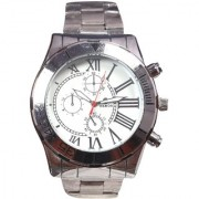 Men Big Dial sliver Analog Party Boy Watches