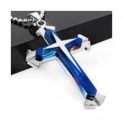 Collar Colgante De Cruz De Acero Inoxidable Hombre-azul