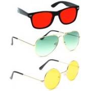 Elligator Aviator, Wayfarer, Round Sunglasses(Red, Green, Yellow)