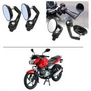 AutoStark 7/8 22cm Motorcycle Rear View Mirrors Handlebar Bar End Mirrors - Bajaj Pulsar 135 LS DTS-i