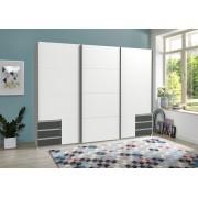 Lifestyle4Living Schwebetürenschrank 3-trg. in weiß und graphit, mit 5 Einlegeböden, 3 Kleiderstangen und 6 Schubladen, Maße: B/H/T ca. 270/208/64 cm