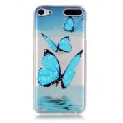 GadgetBay Etui de protection transparent pour iPod Touch 5 et 6 Etui en TPU Papillons bleus
