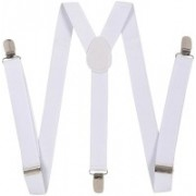 Bsquare Y- Back Suspenders for Boys, Men, Women(White)
