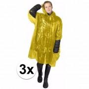 Merkloos 3x wegwerp regenponcho geel