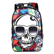 Color Skull Pattern Print Travel Backpack School Shoulders Bag Size: 48cm x 31cm x 15cm