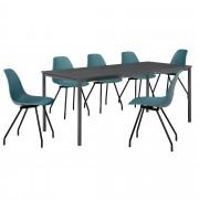 [en.casa] Set de mesa de comedor diseño [180cm x 80cm x 75cm] gris oscuro - 6 x sillas - turquesa