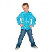 Merkloos Turquoise blauwe hippie blouse jongens 152 - Carnavalsblouses