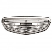 Grila radiator, masca fata Mercedes Clasa E W212 Sedan/Combi 02.2013-2016, parte montare centrala, gri/silver argintiu, cu ornament cromat, 50E105-2, Aftermarket Kft Auto