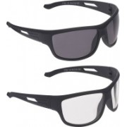 Vast Wrap-around, Sports, Spectacle Sunglasses(Clear, Black, Grey)