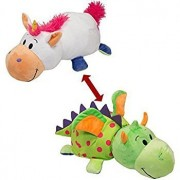 """FlipaZoo The 16"""" Pillow with 2 Sides of Fun for Everyone - Each Huggable FlipaZoo character is Two Wonderful Collectibles in One (Unicorn / Dragon)"""