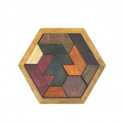Houten Hexagon Puzzel - Denkpuzzel - Moeilijk spelletje en leuk als cadeau