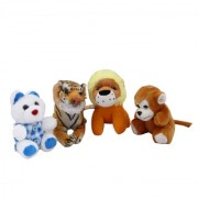 Set of 4 Animal Soft Toys ( Small Teddy Baby Lion Baby Tiger Small Monkey)