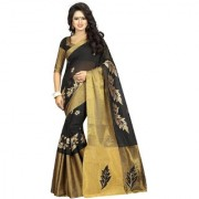 Indian Style Sarees New Arrivals Latest Women's Art Silk Poly Cotton embroidered Traditional self Design Saree with blouse VISHWA WORK BLACK