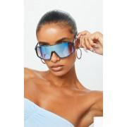 PrettyLittleThing Lunettes de soleil à verres réfléchissants bleus et monture effet taches de peinture, Bleu - One Size