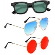 Elligator Aviator, Wayfarer, Round Sunglasses(Green, Blue, Red)