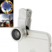 3 in 1 Universal 180 Degree Fisheye Lens + 6X Marco Lens + 0.65X Wide Lens with Clip Suit for iPhone Samsung HTC(Silver)