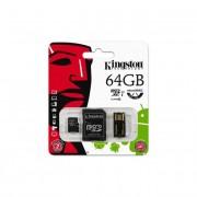 Memóriakártya, Micro SDHC, 64GB, Class 10, adapterrel, KINGSTON