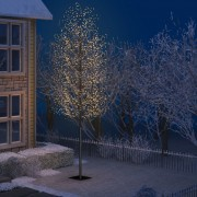 Pom Crăciun, 2000 LED-uri, alb cald, flori de cireș, 500 cm