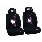 Huse scaune auto Hello Kitty, set 2 bucati pentru scaunele fata, culoare negru Kft Auto
