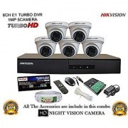 HIKVISION 8CH-DS-7208HGHI-F1-Turbo-HD-720P-DVR + HIKVISION DS-2CE56COT-IR TURBO DOME CAMERA 5pcs + 1TB HDD + CABLE 3+1 COPPER + POWER SUPPLY (FULL COMBO)