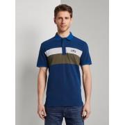 TOM TAILOR Poloshirt in kleur blokkerende look, Heren, Black Iris Blue, M