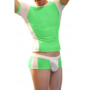 Icker Sea Matching T Shirt & Boxer Brief Set Green & White COR-16-05