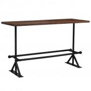vidaXL Mesa de bar em madeira recuperada 180x70x107 cm castanho escuro