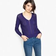 MADEMOISELLE R Пуловер с V-образным вырезом и длинными рукавами из тонкого ажурного трикотажа
