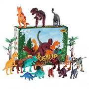 iBaseToy Dinosaur Toys Set, Dinosaur Figures with Map, 31 Piece Assorted Dino Figurines for Kids Boys and Girls, Include Tyrannosaurus Rex, Triceratops, Velociraptor, Stegosaurus, Trees and Rockery